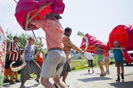 Locals danced in a giant multiperson lobster costume during Monhegan Island's 400th anniversary celebration.